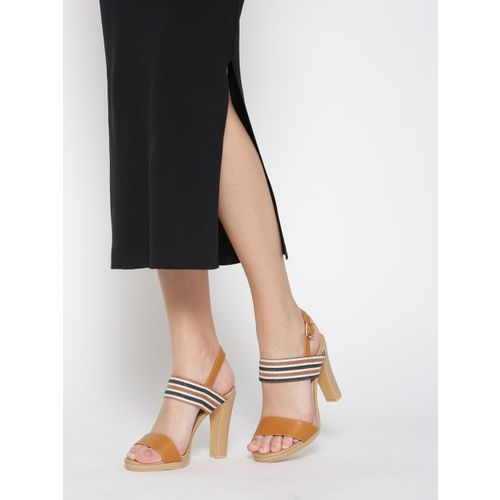 Lavie Women Tan Brown & Black Striped Heels
