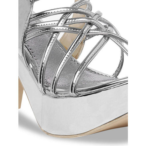 Bruno Manetti Women Silver-Toned Solid Sandals