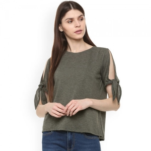People Women Olive Green Solid Top