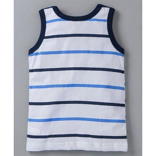 Zero Sleeveless Stripe Tee And Shorts Puppy Print - White Navy Blue
