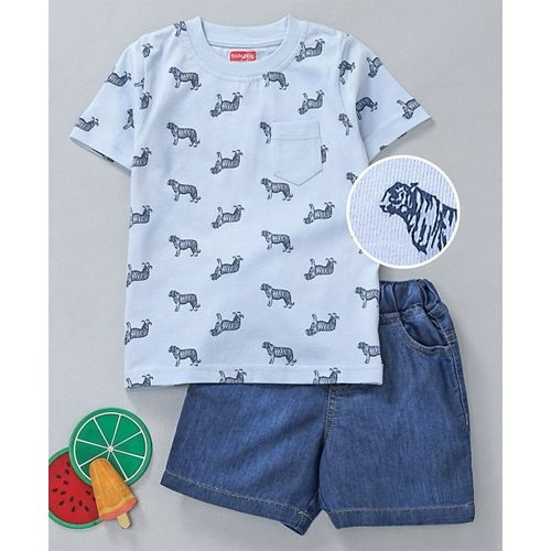 Babyhug Half Sleeves Tee & Denim Shorts Tiger Print - Blue