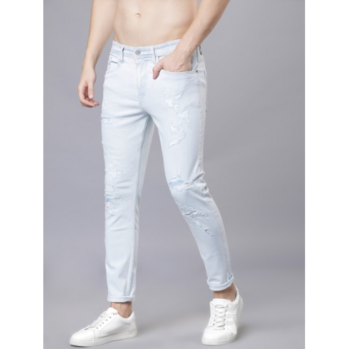 LOCOMOTIVE Blue Cotton Tapered Fit Mid-Rise Highly Distressed Stretchable Jeans