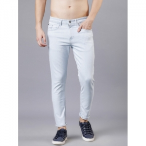 LOCOMOTIVE Blue Tapered Fit Mid-Rise Clean Look Stretchable Jeans