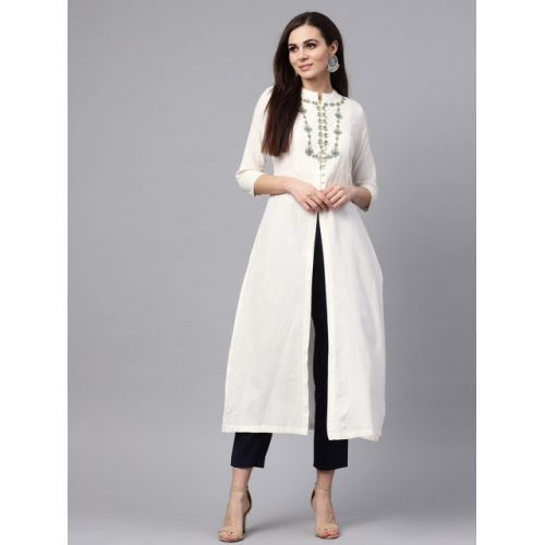SASSAFRAS Women Off-White Yoke Design Straight Kurta