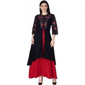 SANGANERI KURTI Red Black Embroidered A-line Kurta