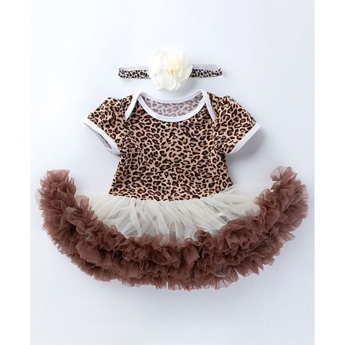 Pre Order - Awabox Leopard Printed Half Sleeves Frill Onesie With Headband - Brown
