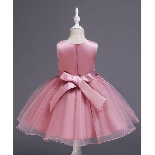 Pre Order - Awabox Sleeveless Floral Embroidered Ball Gown Flare Dress - Pink