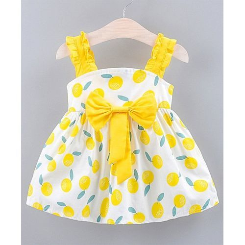 Awabox Yellow Lemon Print Sleeveless Dress