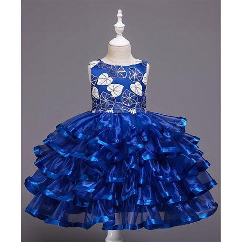 Pre Order - Awabox Sleeveless Heart Embroidered Layered Dress - Blue