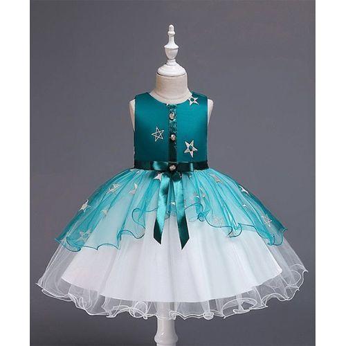 Awabox Green Sleeveless Star Patch Tulle Flare Dress