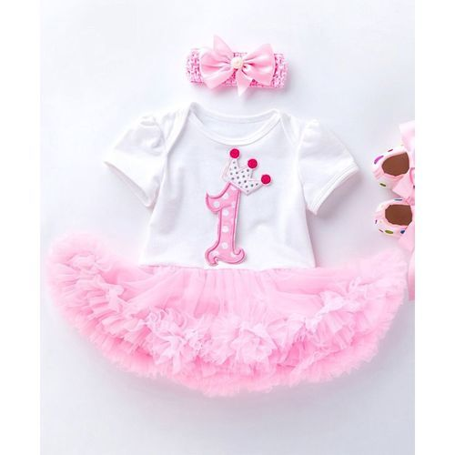Pre Order - Awabox Crown & Number Applique Half Sleeves Tutu Style Onesie With Headband & Shoes - Light Pink