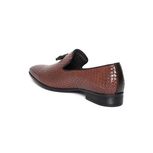 San Frissco Men Brown Basketweave Texture Semiformal Slip-Ons