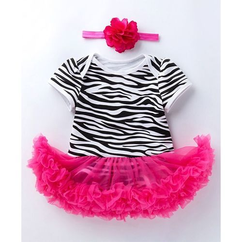 Pre Order - Awabox Zebra Printed Half Sleeves Frill Onesie With Headband - Pink