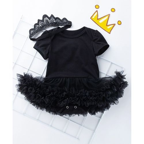 Pre Order - Awabox Solid Half Sleeves Frill Onesie With Headband - Black