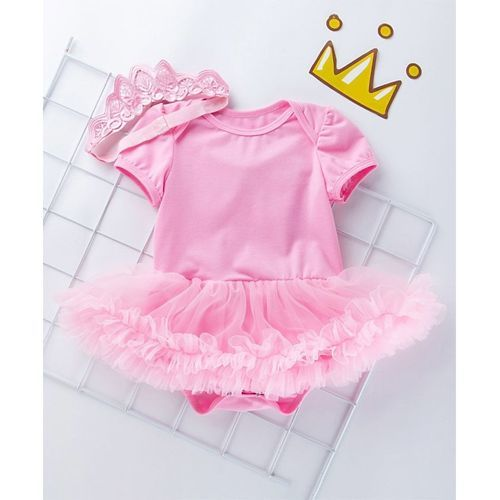 Pre Order - Awabox Solid Half Sleeves Frill Onesie With Headband - Pink