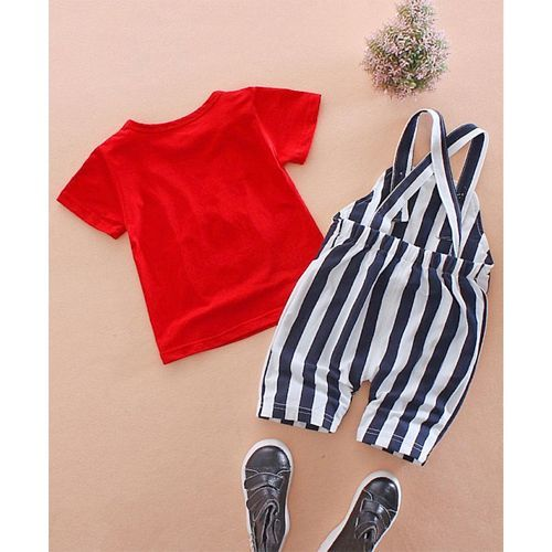 Pre Order - Awabox Bunny Printed Half Sleeves Tee & Dungaree Set - Red