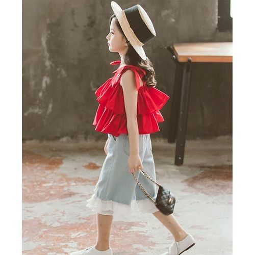 Awabox Red Sleeveless Layered Top With Ruffled Hem Distressed Jeans