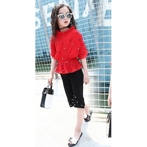 Pre Order - Awabox Three Fourth Sleeves Pearl Detailed Top With Pants - Red & Black