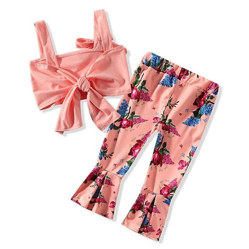 Pre Order - Awabox Sleeveless Crop Top With Flower Printed Flare Pants - Pink