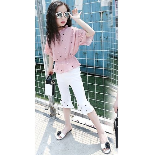 Awabox  Pink & White Three Fourth Sleeves Top With Pants