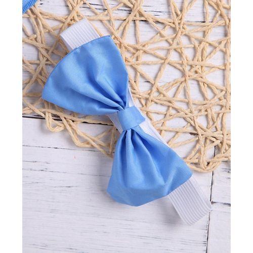 Pre Order - Awabox Short Sleeves Top With Headband & Floral Print Skirt Set - Blue