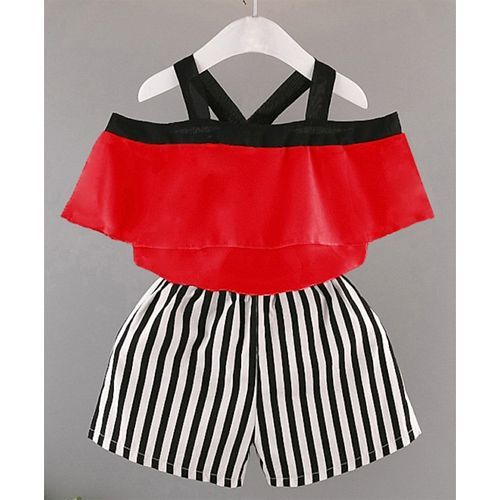 Pre Order - Awabox Half Sleeve Off Shoulder Top With Stripped Shorts - Red