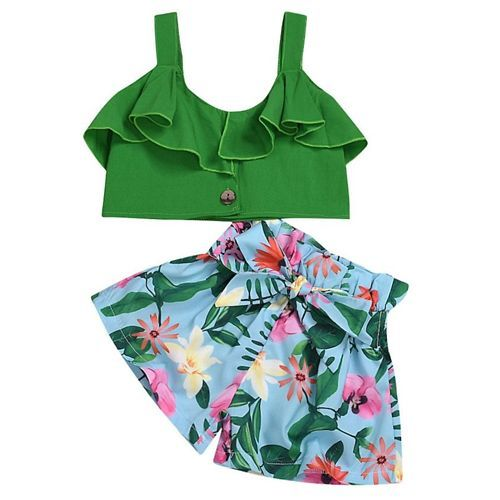Pre Order - Awabox Sleeveless Ruffled Top With Floral Print Shorts - Green & Blue