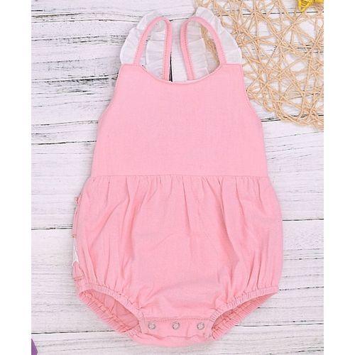 Pre Order - Awabox Solid Falbala Sleeveless Dress - Pink