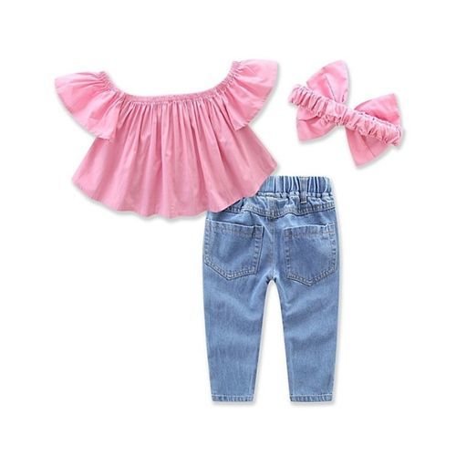 Awabox Pink & Blue Solid Short Sleeves Top & Bottom With Headband Set