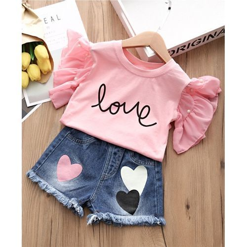 Pre Order - Awabox Cap Sleeves Letter Printed Top With Denim Shorts - Pink & Blue