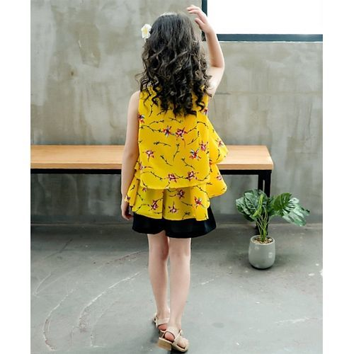 Pre Order - Awabox Sleeveless Flower Print Bowknot Top With Shorts - Yellow & Black
