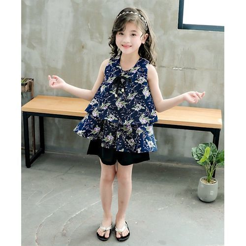 Pre Order - Awabox Sleeveless Flower Print Layered Top With Shorts - Black & Blue
