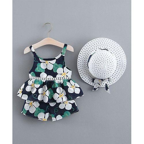 Pre Order - Awabox Flower Printed Sleeveless Top & Shorts Set - White & Blue