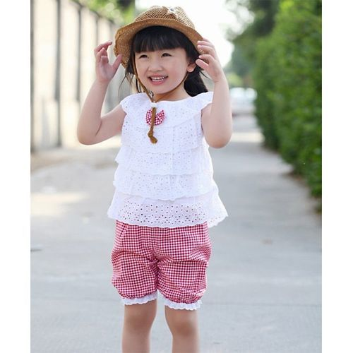 Awabox Red & White Schiffli Sleeveless Top & Shorts Set