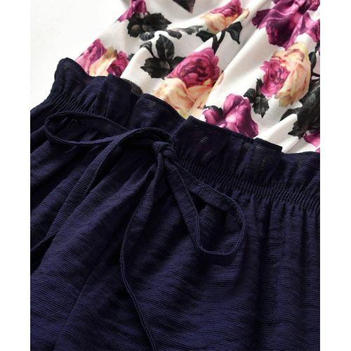 Pre Order - Awabox Flower Print Cap Sleeves Jumpsuit - Navy Blue