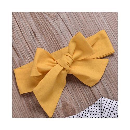 Pre Order - Awabox Dots Printed Short Sleeves Top With Skirt & Headband - Yellow