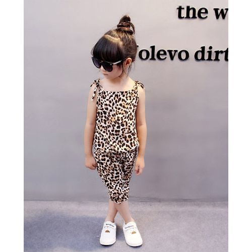 Awabox Brown Leopard Print Sleeveless Top & Shorts Set