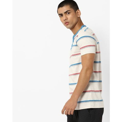 AMERICAN CREW Striped Henley T-shirt