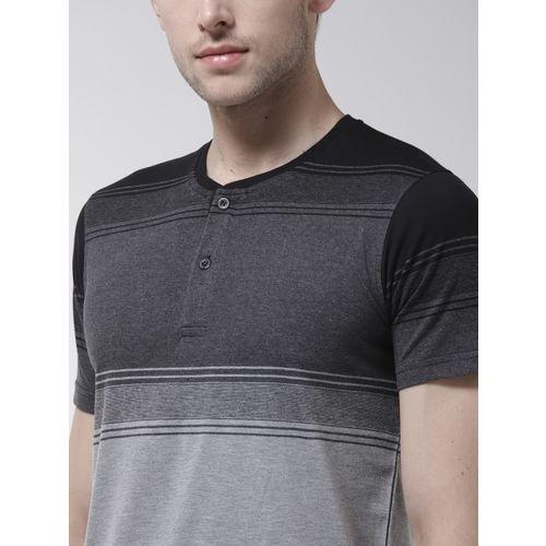Fort Collins Men Grey Striped Henley Neck T-shirt