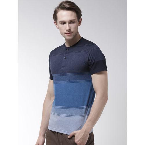 Fort Collins Men Blue Striped Henley Neck T-shirt