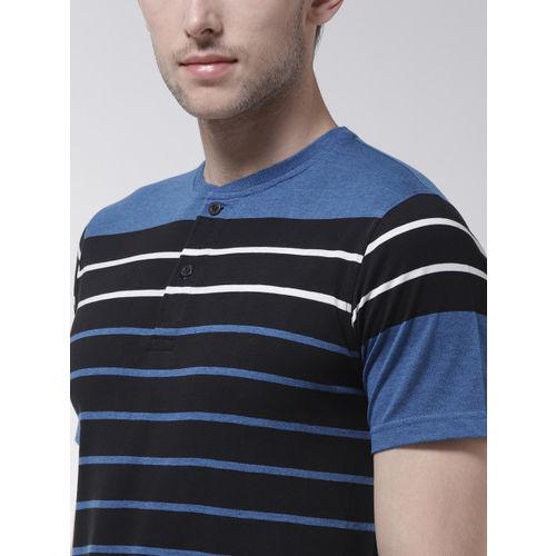 Fort Collins Men Black & Blue Striped Henley Neck T-shirt