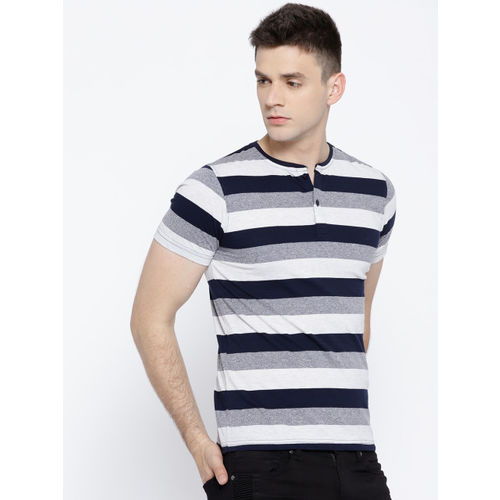 Fort Collins Men Off-White & Navy Striped Henley Neck T-shirt