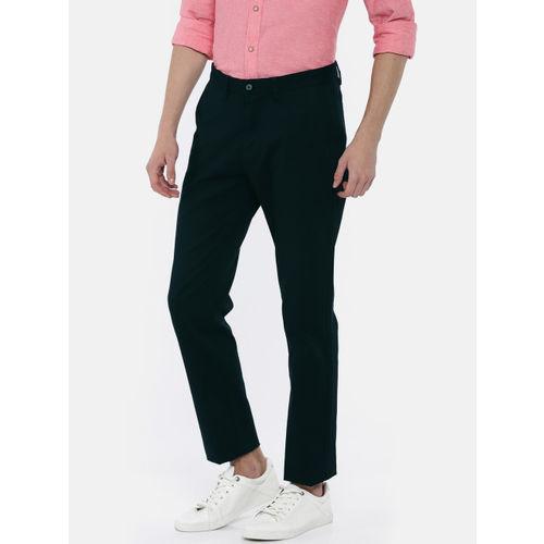 U.S. Polo Assn. Men Navy Blue Denver Slim Fit Self Design Chinos