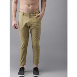 Moda Rapido Men Khaki Slim Fit Solid Cropped Chinos