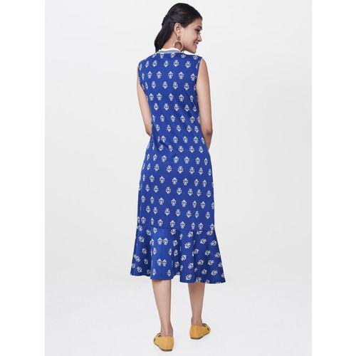 Global Desi Women Blue Printed Midi Dress