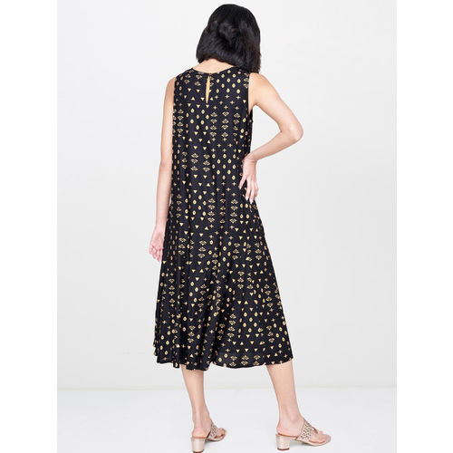 Global Desi Women Black & Gold Printed Sleeveless A-Line Dress