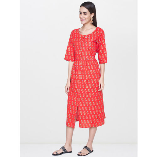 Global Desi Women Red Printed Fit and Flare Dress