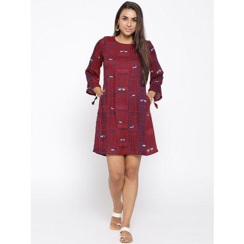 Global Desi Women Red & Navy Printed A-Line Dress