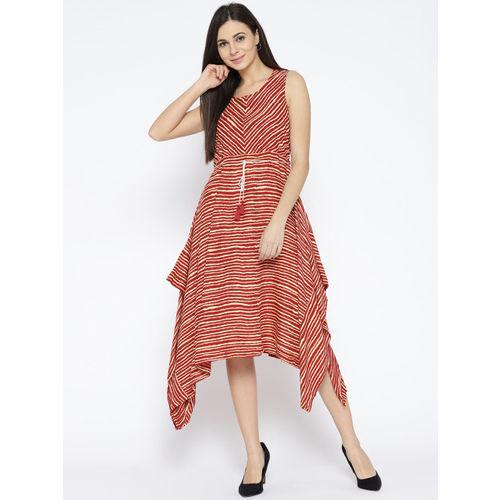 Global Desi Women Red & White Striped A-Line Dress