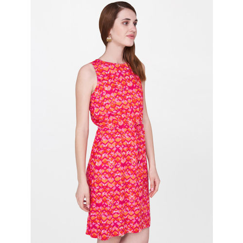 Global Desi Women Pink & Orange Printed A-Line Dress